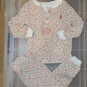 RL 18 month floral cotton jammies set